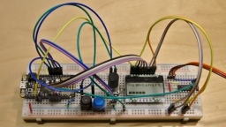 The completed prototype on a breadboard